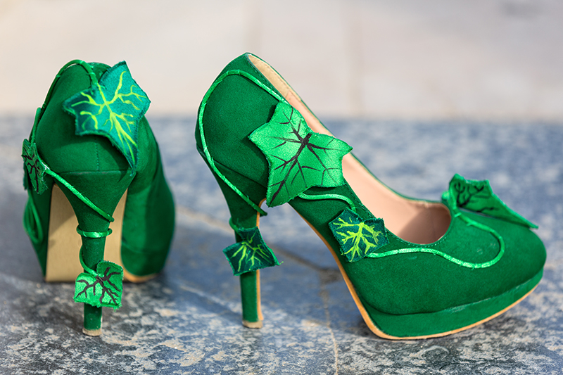 chaussures poison ivy dc comics feuilles soie lianes made in france