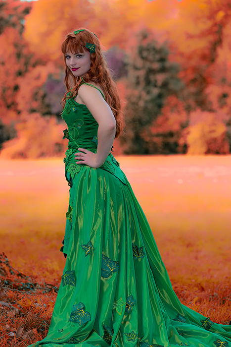 cosplay poison Ivy dc comics batman automne feuilles made in france