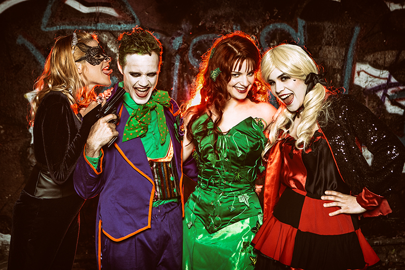 cosplay dc comics shootings photo costume cosplays haute couture made in france joker catwoman harley quinn poison ivy