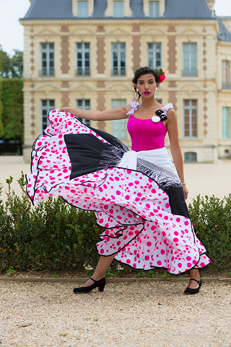 jupe flamenco pois 2 volants noir fuchsia blanc made in france danse