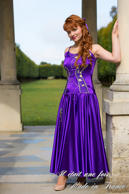 robe soirée femme satin violet strass soir made in france
