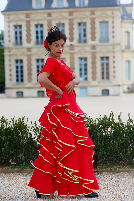 jupe flamenco rouge longue made in france